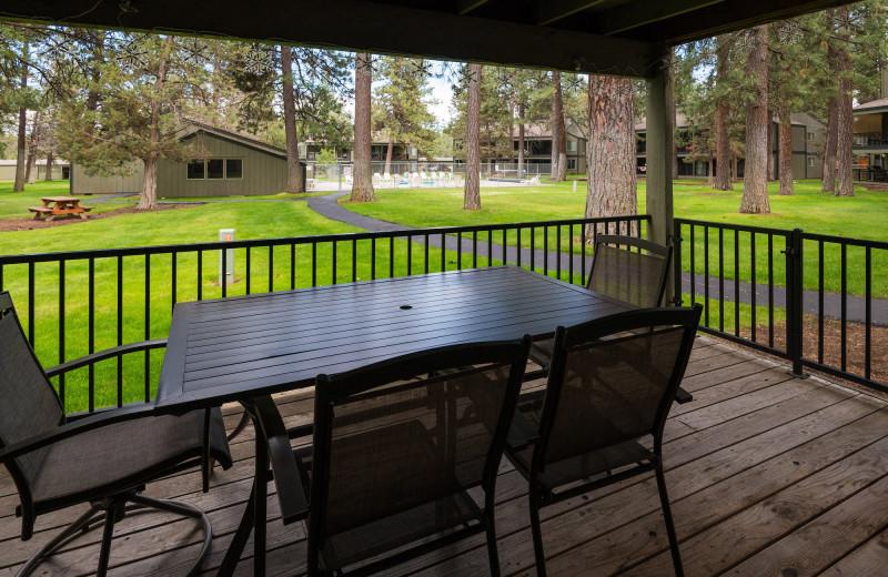 Rental deck at Sisters Vacation Rentals.