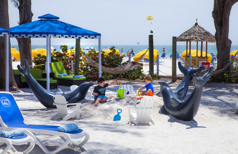 Kid's beach area at Guy Harvey Outpost Resort.