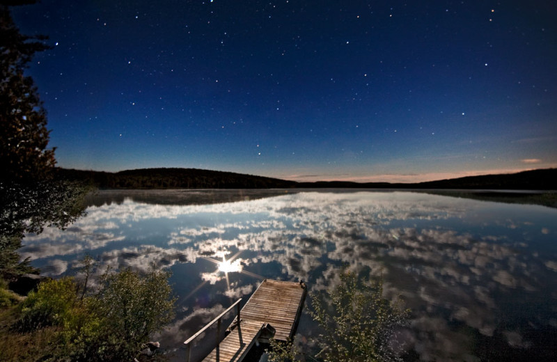 Night time at Killarney Lodge in Algonquin Park.