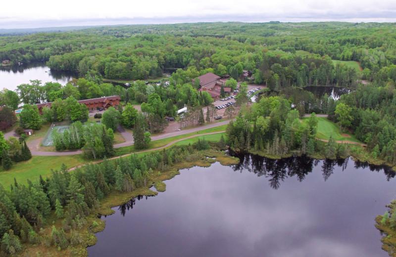Aerial view of Lakewoods Resort.