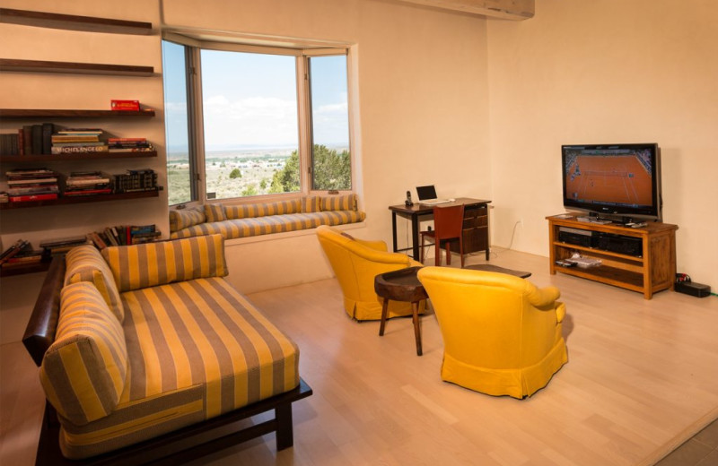 Living room at Adobe Zen House.