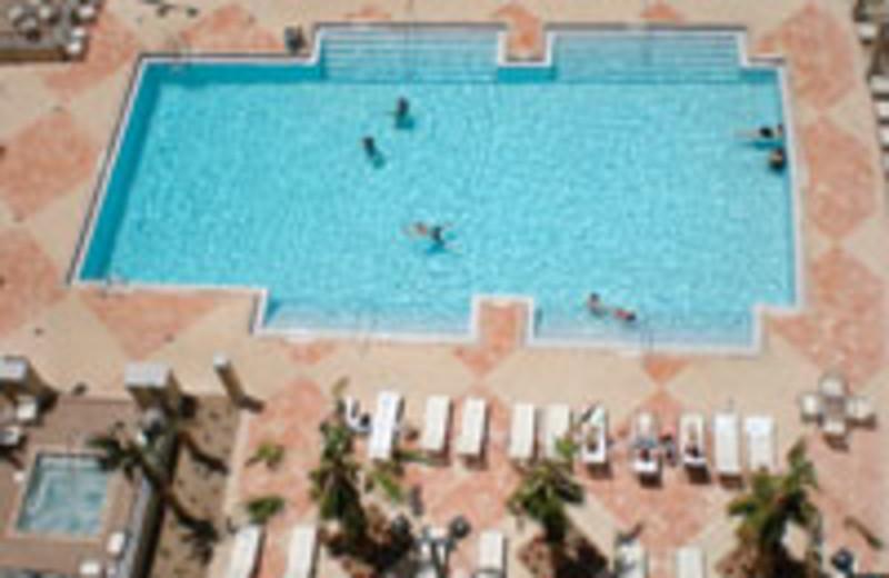 Aerial view of pool at Lake Eve Resort.
