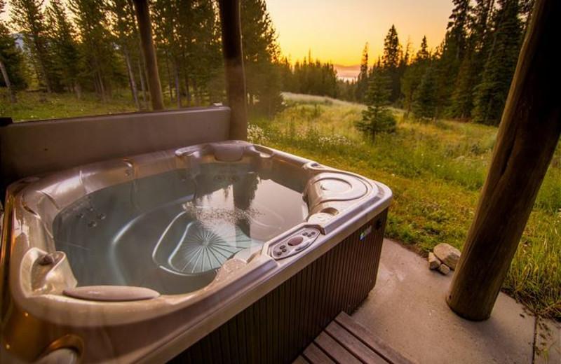 Rental hot tub at Black Diamond Vacation Rentals.
