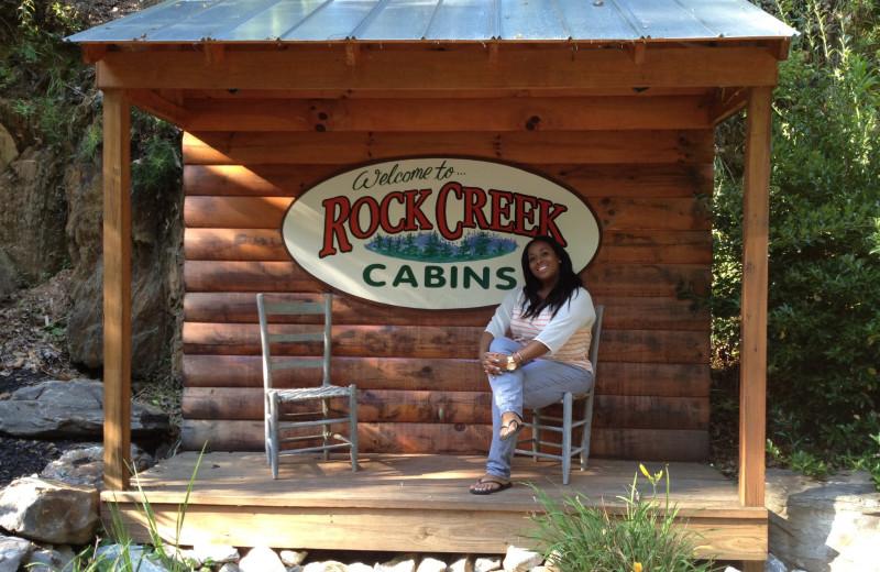 Rock Creek Cabins sign.