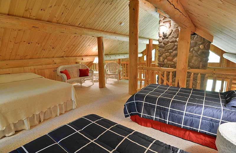 Cabin loft at North Country Vacation Rentals.