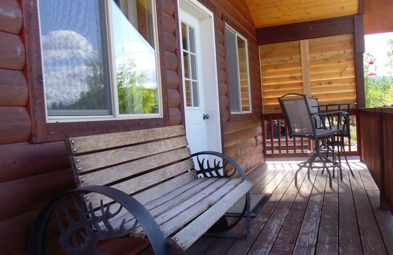 Cabin deck at Glaciers' Mountain Resort.