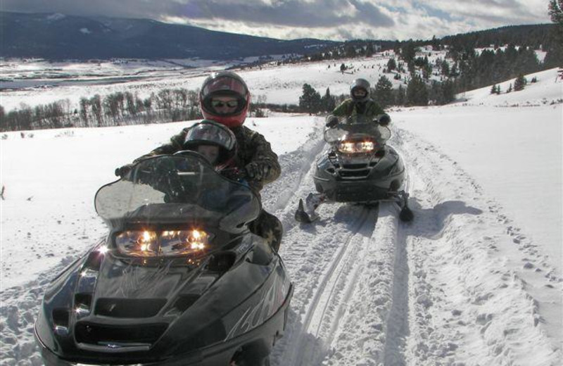 Snowmobiling at Montana High Country Lodge.