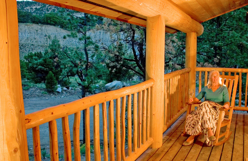 Cabin deck at Mt. Princeton Hot Springs Resort.