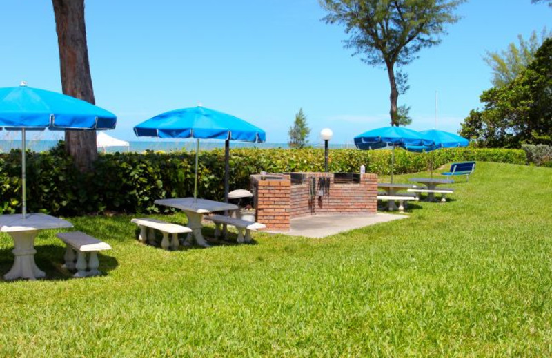Outdoor picnic area at Sand Cay Beach Resort.