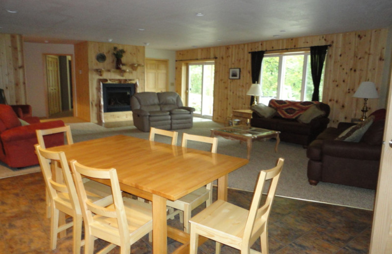 Cabin interior at Five Lakes Resort.