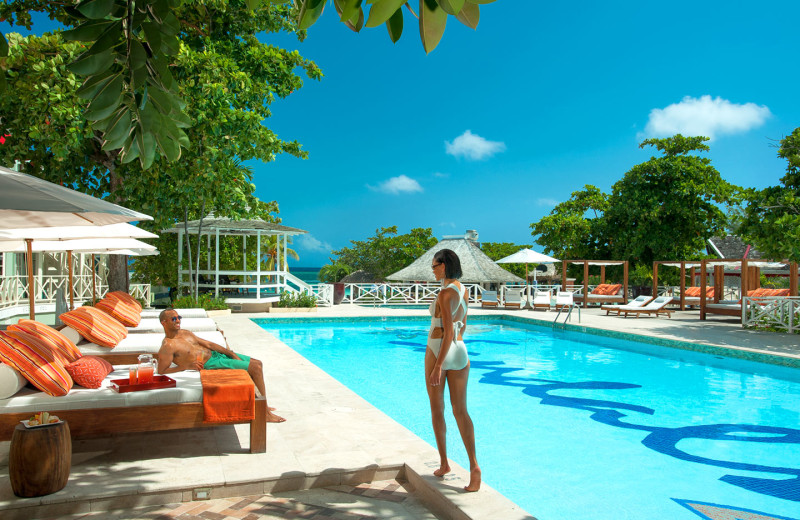 Outdoor pool at Sandals Montego Bay.