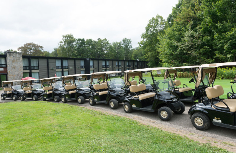 Golf carts at Hotel Mont Gabriel.