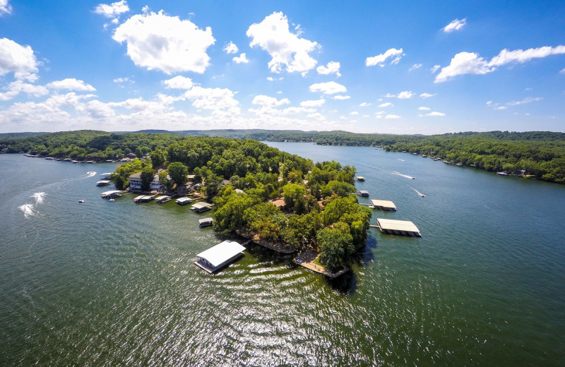 Aerial view of Point View Resort.  Great for fishing, swimming, and water sports.