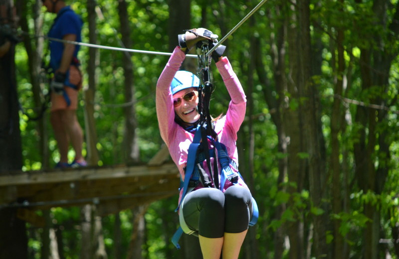 Zip line at Chalets in Hocking Hills.