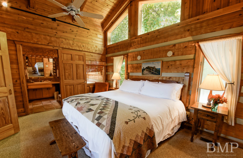 Guest bedroom at Cataloochee Ranch.