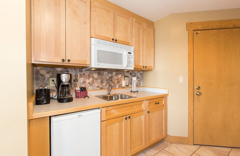 Guest kitchenette at Grand Superior Lodge on Lake Superior.