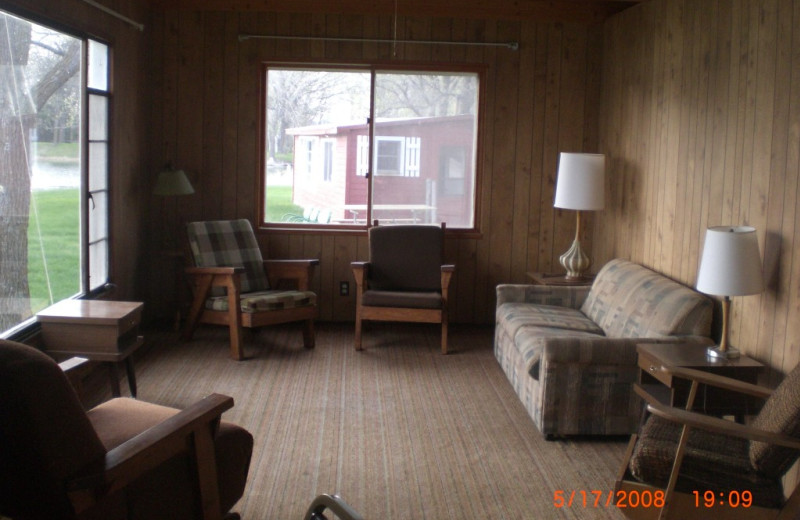 Cabin living room at Whispering Waters Resort.