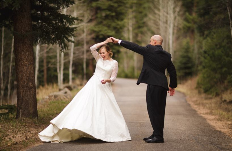 Wedding couple at Meadow Creek Lodge and Event Center.