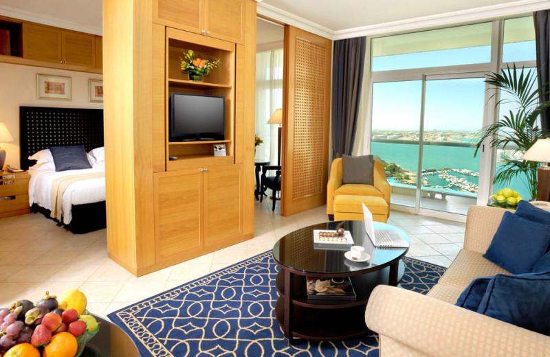 Guest room at Beach Rotana Hotel.