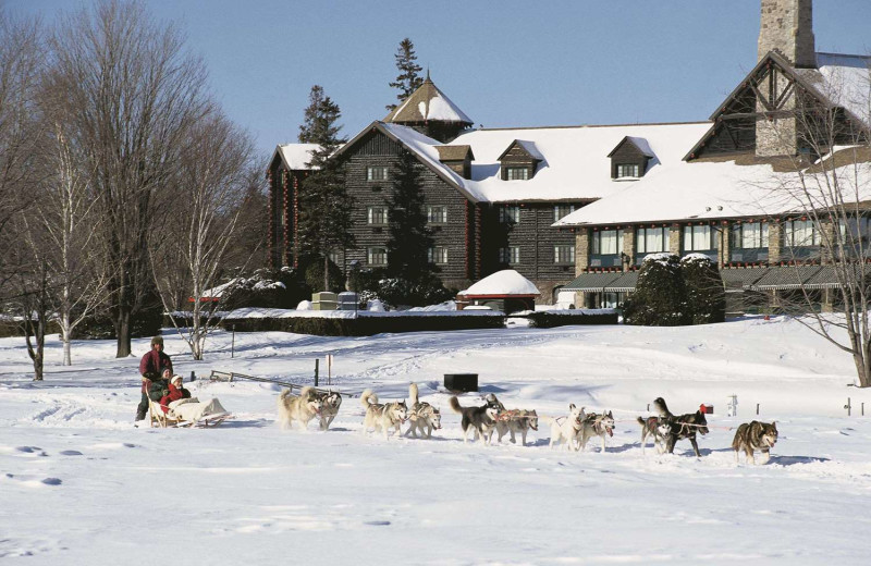 Dog sled at Fairmont Le Chateau Montebello.