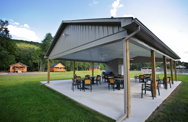 Outdoor patio at Creekside Resort.