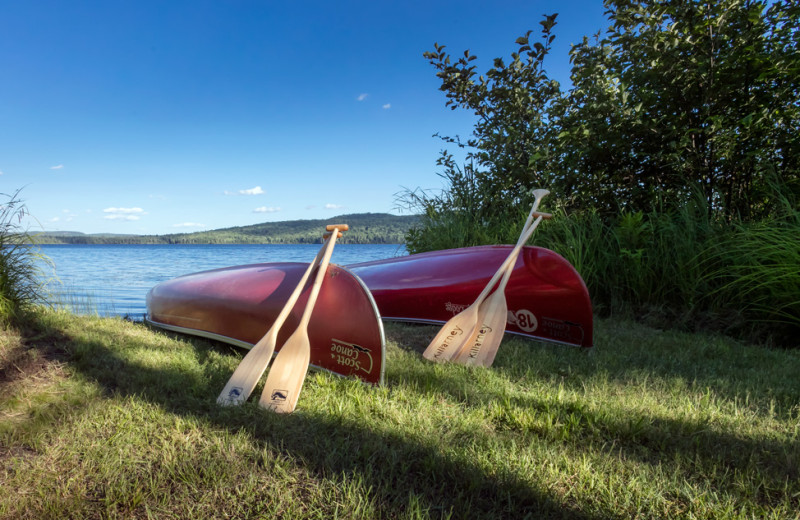 Canoes at each cabin at Killarney Lodge in Algonquin Park.