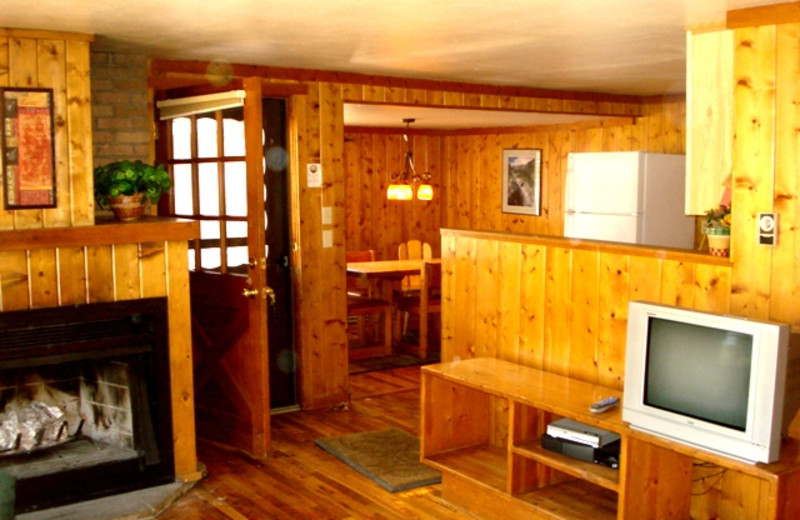 Cabin living room at Glacier Lodge.