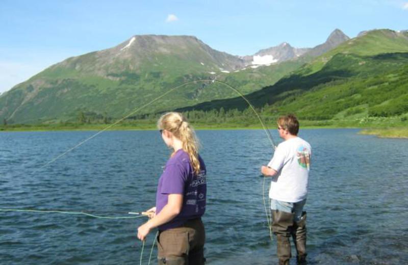Fishing at Trail Lake Lodge.