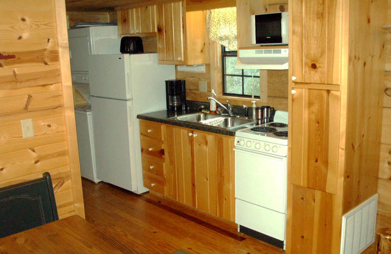 Cabin kitchen at Big Bear Log Cabins.