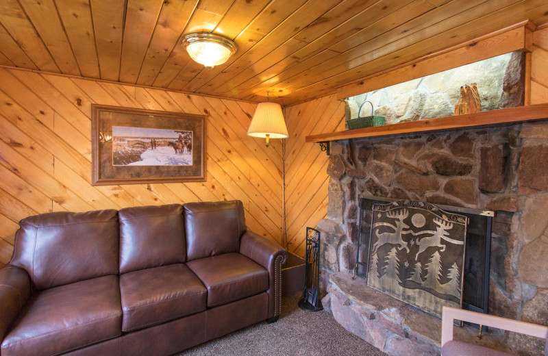 Cabin living room at Pine River Lodge.