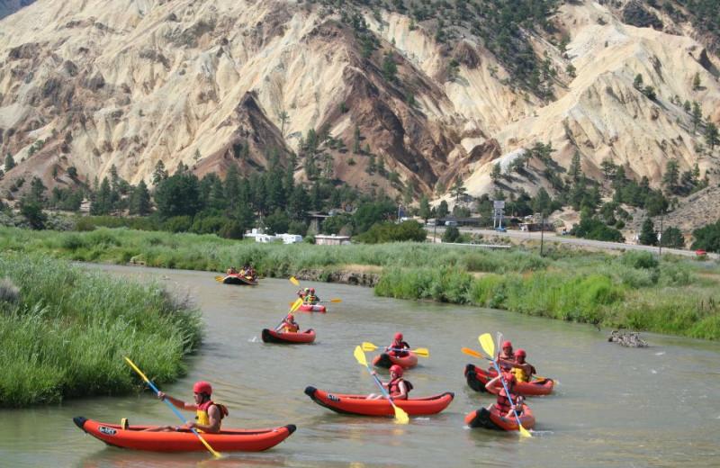 River kayaking at Big Rock Candy Mountain Resort.