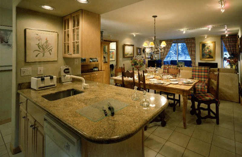 Mountainside condo kitchen and dining area at Vail's Mountain Haus.