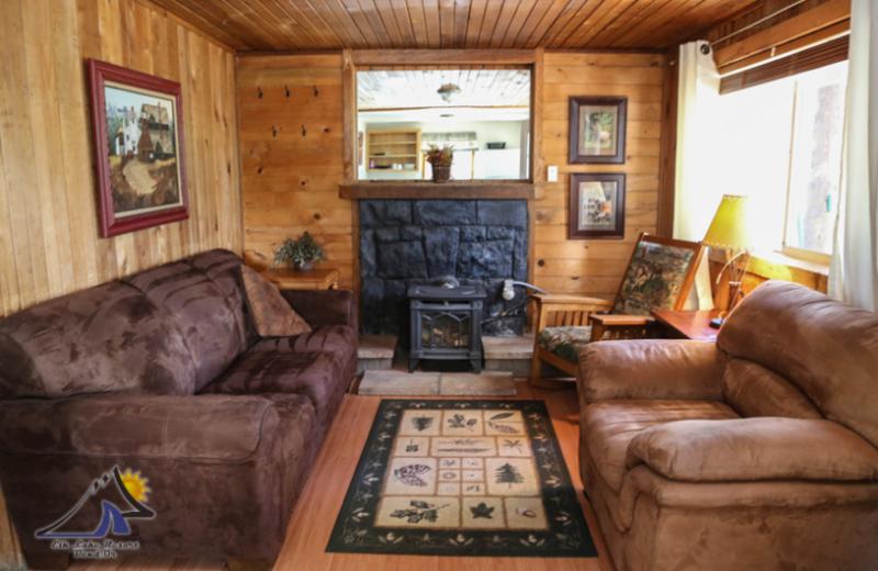 Cabin living room at Elk Lake Resort.