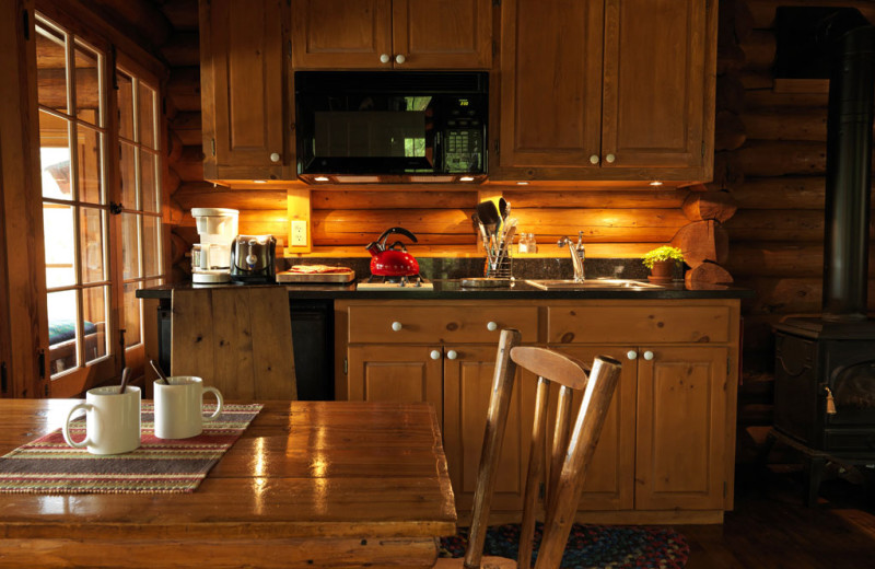 Cabin kitchen at Burntside Lodge.
