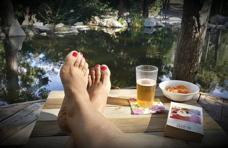 Relaxing at Arrowhead Pine Rose Cabins.