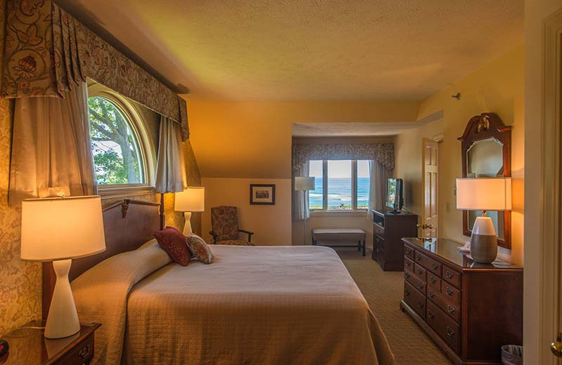 Guest room at The Sparhawk Oceanfront Resort.