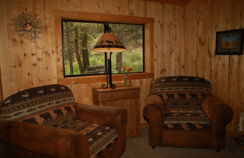 Cabin living room at Elk Mountain Ranch.