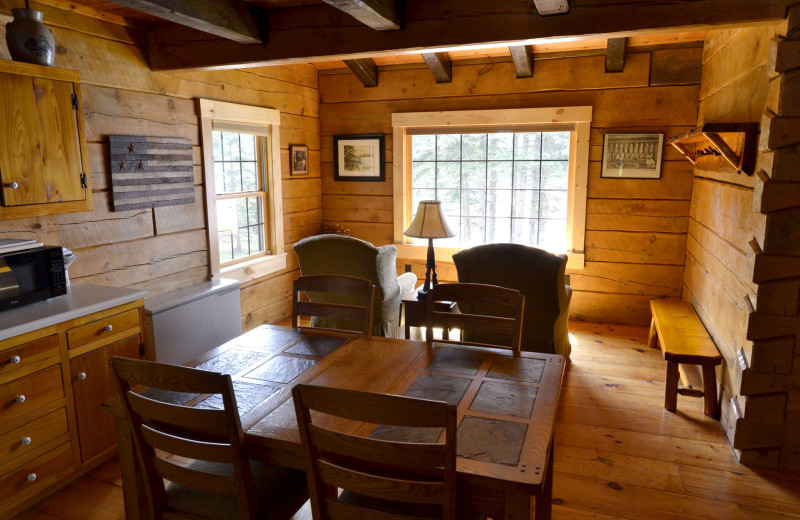 Cabin dining room at The New England Inn & Lodge.