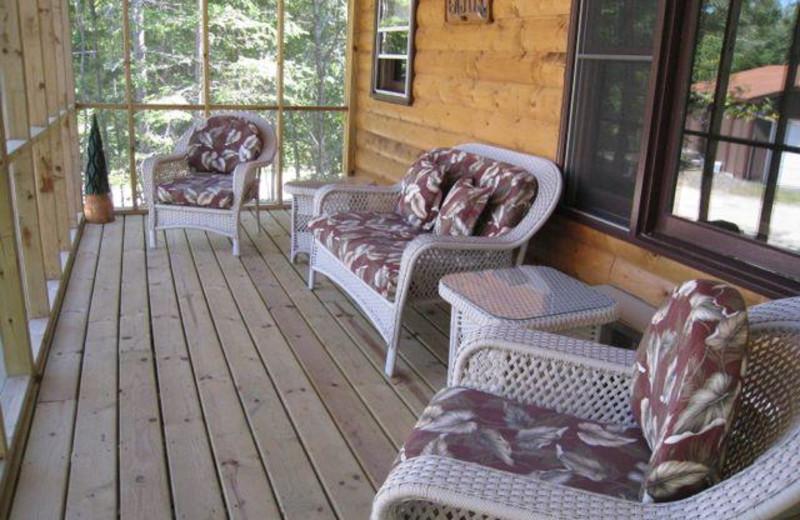 Screened porch at Pine Tree Cove Resort.