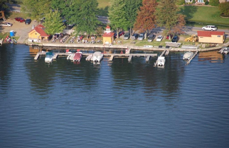 Aerial view of Edinboro Lake Resort.