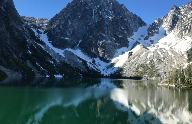 Mountain and lake near Sleeping Lady.