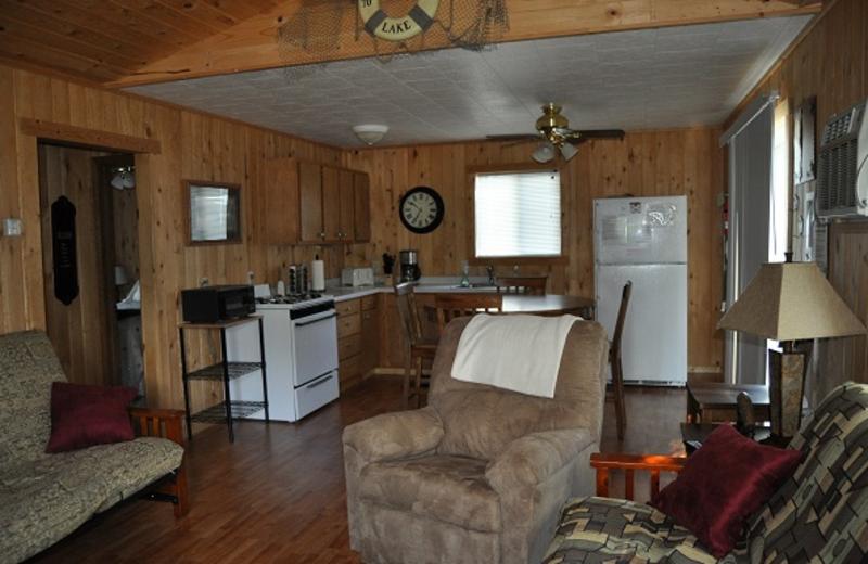 Cabin interior at Elm Haven Resort.