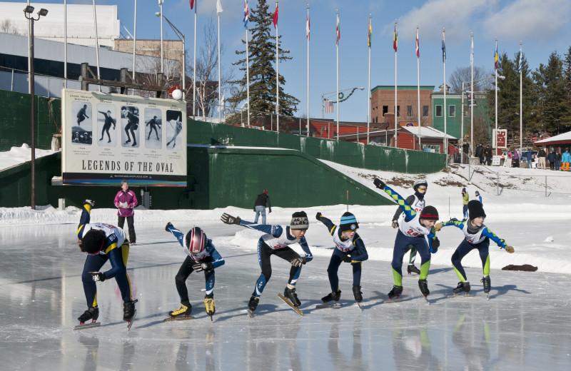 Speed skating in Lake Placid at Lake Placid Vacation Homes.