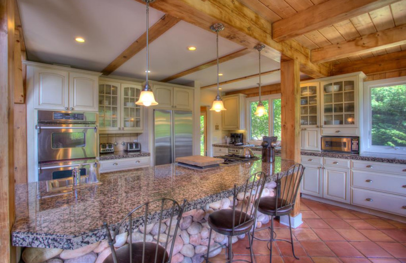 Rental kitchen at Yonder Luxury Vacation Rentals.