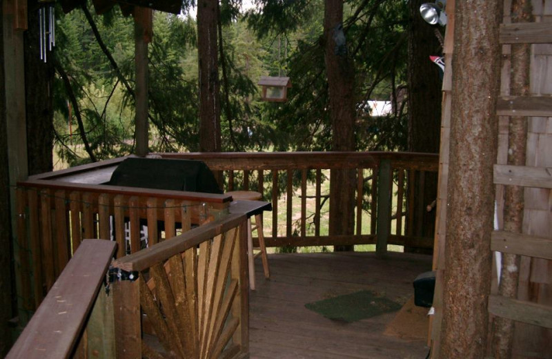 Deck view at Lothlorien Woods Treehouse.