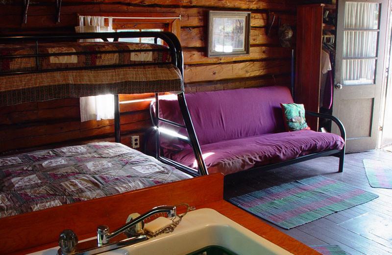 Cabin interior at Cliff Lake Resorts.