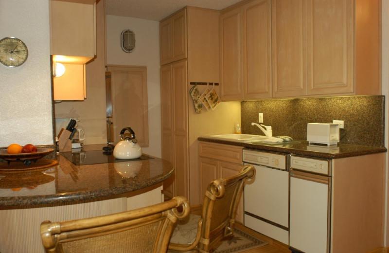 Vacation rental kitchen at Island Sands Resort.