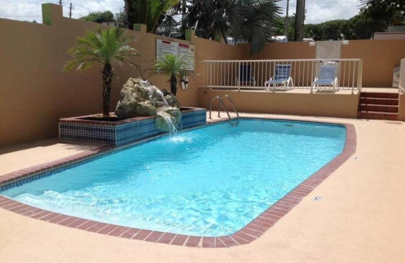Outdoor pool at El Buen Cafe Hotel.