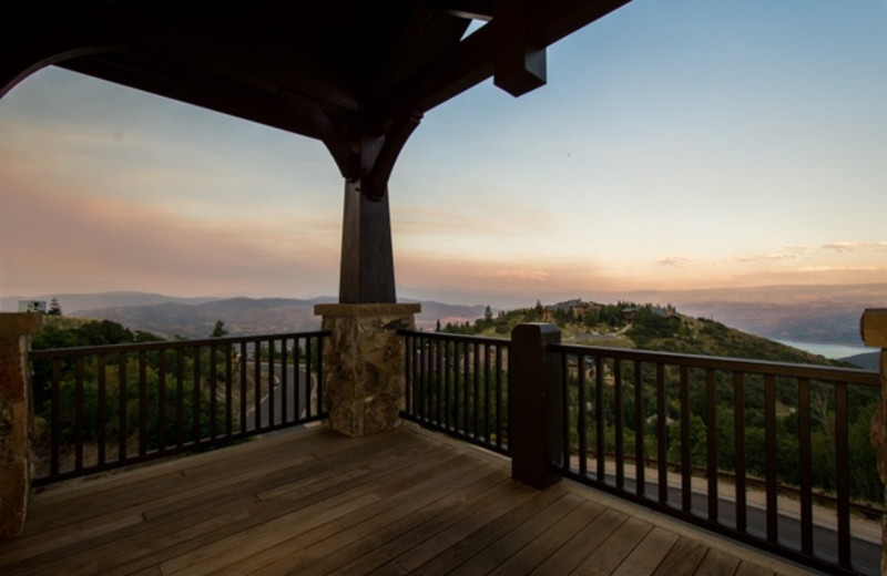 Rental deck at Utopian Luxury Vacation Homes.