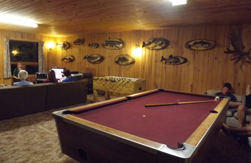 Game room at Rainbow Point Lodge.